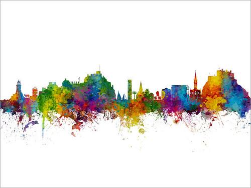 Jersey Channel Islands Skyline Cityscape Poster Art Print