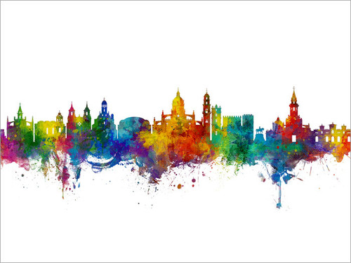 Jerez Spain Skyline Cityscape Poster Art Print