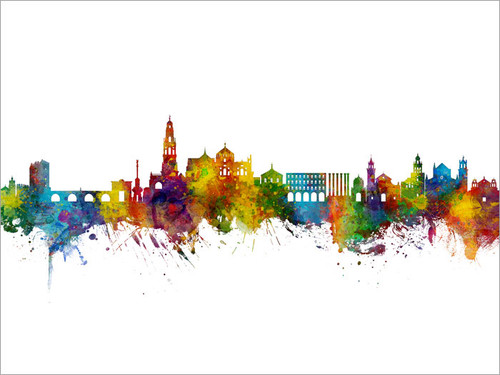 Córdoba Spain Skyline Cityscape Poster Art Print