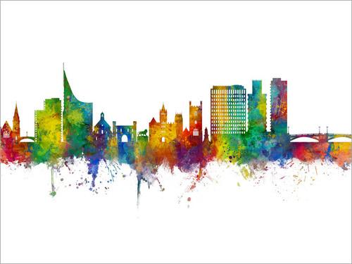 Reading England Skyline Cityscape Poster Art Print