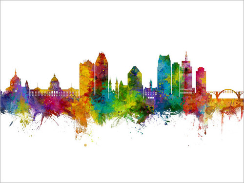 Saint Paul Minnesota Skyline Cityscape Poster Art Print