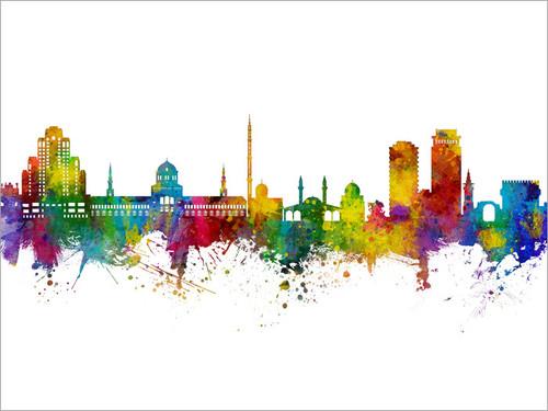 Damascus Syria Skyline Cityscape Poster Art Print
