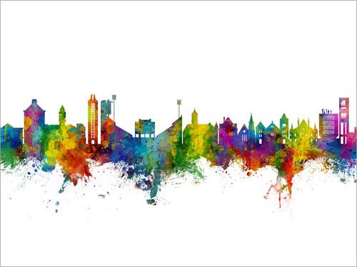 Lawrence Kansas Skyline Cityscape Poster Art Print