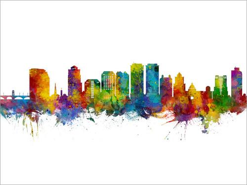 West Palm Beach Florida Skyline Cityscape Poster Art Print
