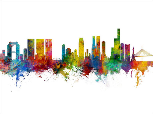 Osaka Japan Skyline Cityscape Poster Art Print