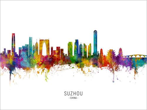 Suzhou China Skyline Cityscape Poster Art Print