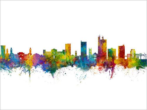 Lubbock Texas Skyline Cityscape Poster Art Print