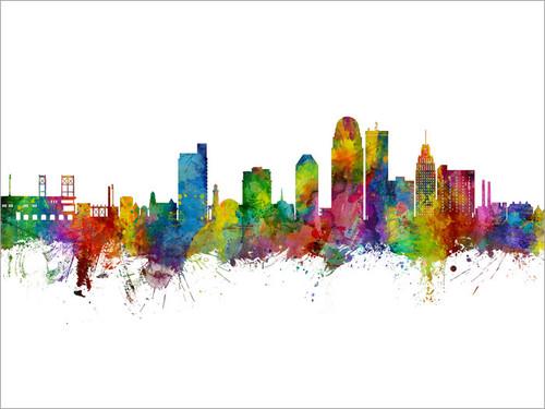 Winston-Salem North Carolina Skyline Cityscape Poster Art Print