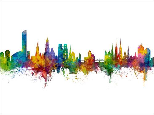 Wroclaw Poland Skyline Cityscape Poster Art Print