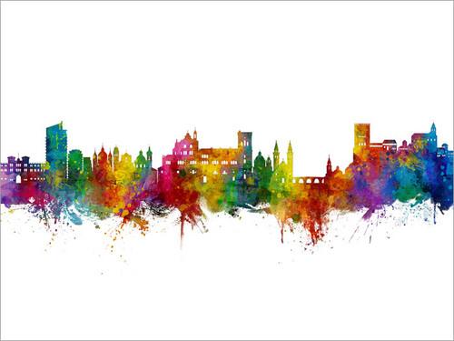 Granada Spain Skyline Cityscape Poster Art Print