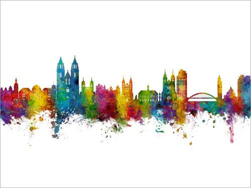 Magdeburg Deutschland Skyline Cityscape Poster Art Print