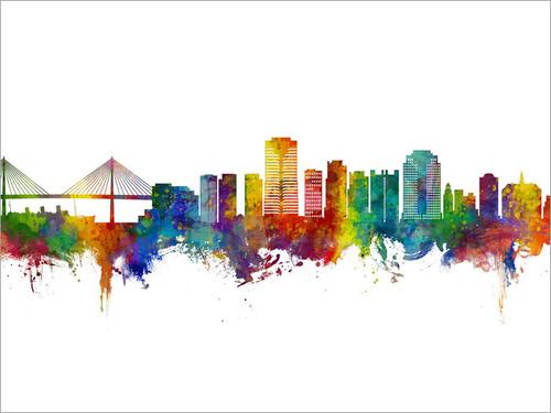 Long Beach California Skyline Cityscape Poster Art Print