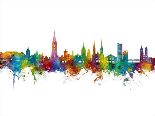 Freiburg Deutschland Skyline Cityscape Poster Art Print