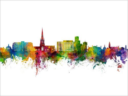 Solihull England Skyline Cityscape Poster Art Print