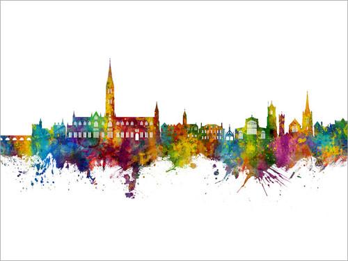 Salisbury England Skyline Cityscape Poster Art Print