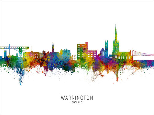 Warrington England Skyline Cityscape Poster Art Print