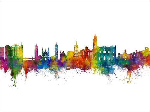 Málaga Spain Skyline Cityscape Poster Art Print