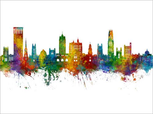 New Haven Connecticut Skyline Cityscape Poster Art Print