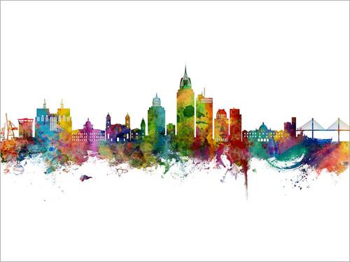 Mobile Alabama Skyline Cityscape Poster Art Print