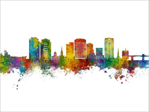 Norfolk Virginia Skyline Cityscape Poster Art Print