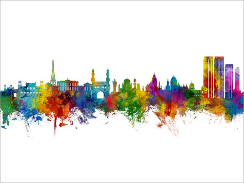 Hyderabad India Skyline Cityscape Poster Art Print
