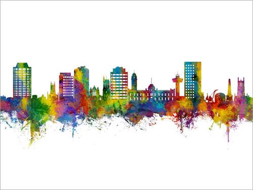 Hobart Australia Skyline Cityscape Poster Art Print