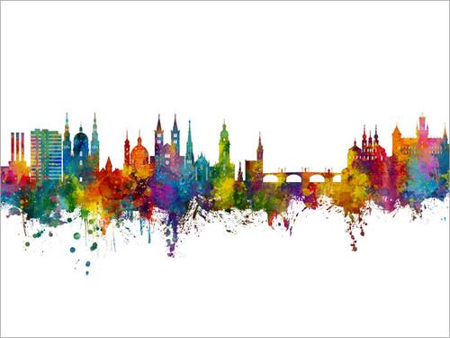 Würzburg Deutschland Skyline Cityscape Poster Art Print