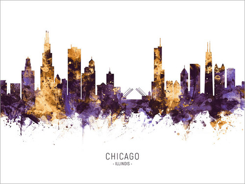 Chicago Illinois Skyline Cityscape Poster Art Print