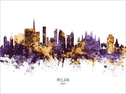 Milan Italy Skyline Cityscape Poster Art Print