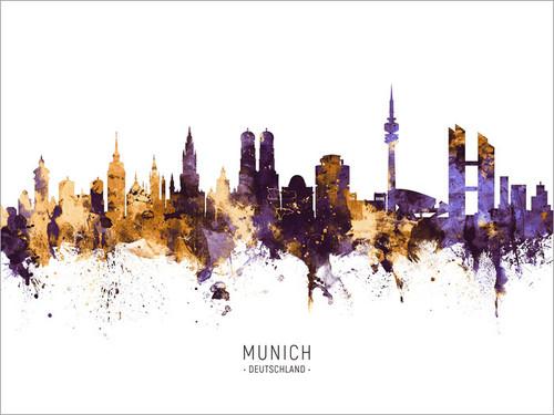 Munich Germany Skyline Cityscape Poster Art Print