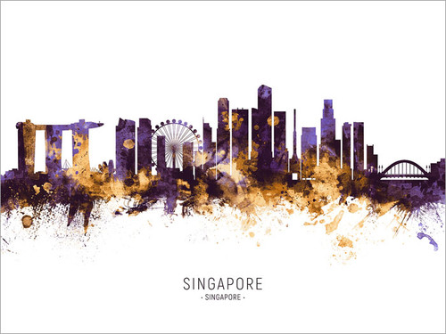 Singapore Singapore Skyline Cityscape Poster Art Print