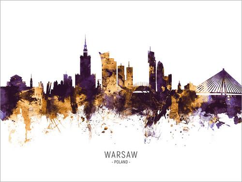 Warsaw Poland Skyline Cityscape Poster Art Print