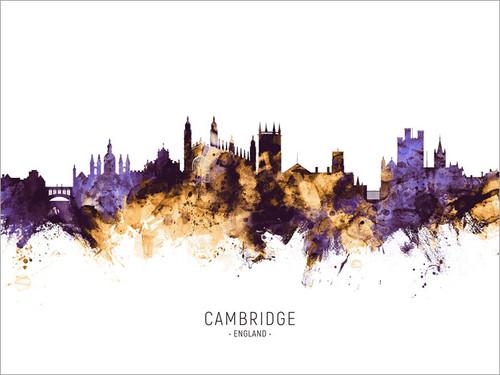 Cambridge England Skyline Cityscape Poster Art Print