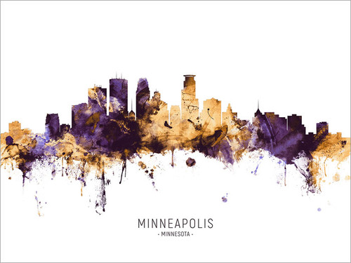 Minneapolis Minnesota Skyline Cityscape Poster Art Print