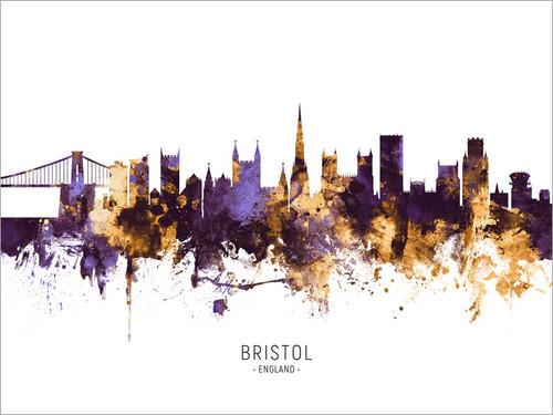Bristol England Skyline Cityscape Poster Art Print