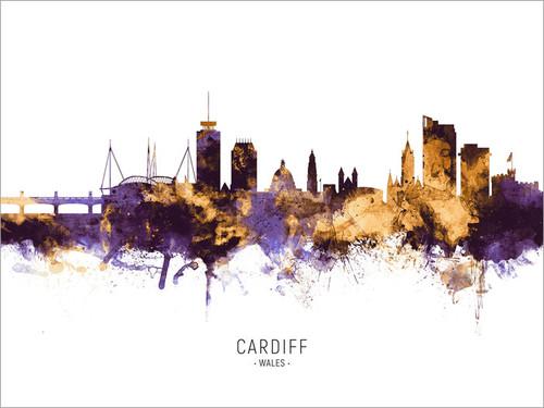 Cardiff Wales Skyline Cityscape Poster Art Print