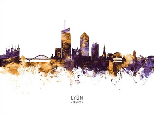 Lyon France Skyline Cityscape Poster Art Print