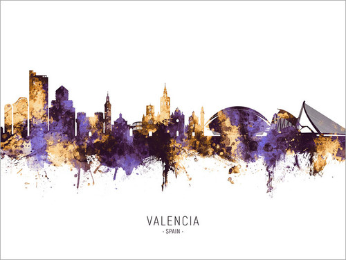 Valencia Spain Skyline Cityscape Poster Art Print
