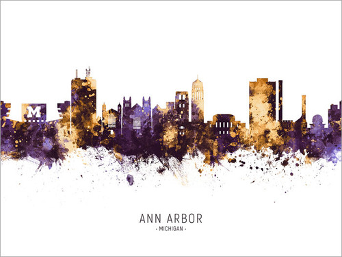 Ann Arbor Michigan Skyline Cityscape Poster Art Print