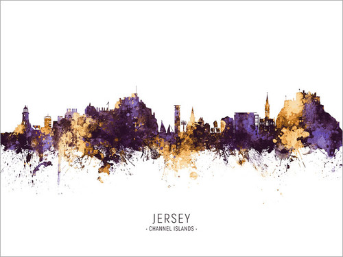 Jersey Channel Islands Skyline Cityscape Poster Art Print