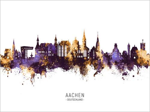 Aachen Deutschland Skyline Cityscape Poster Art Print