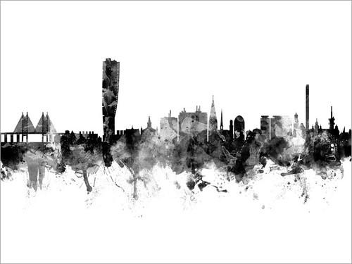 Malmo Sweden Skyline Cityscape Poster Art Print