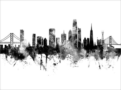 San Francisco California Skyline Cityscape Poster Art Print