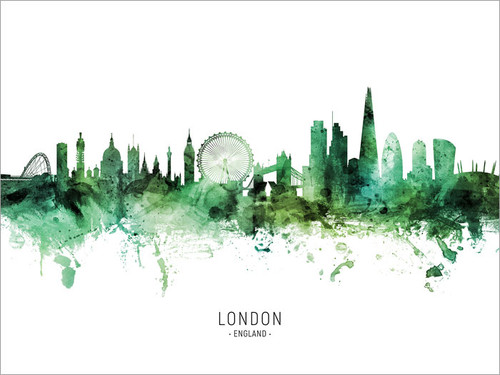 London England Skyline Cityscape Poster Art Print