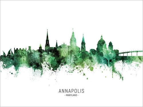 Annapolis Maryland Skyline Cityscape Poster Art Print