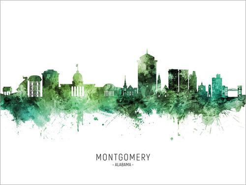 Montgomery Alabama Skyline Cityscape Poster Art Print