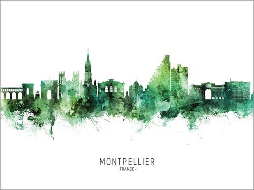 Montpellier France Skyline Cityscape Poster Art Print
