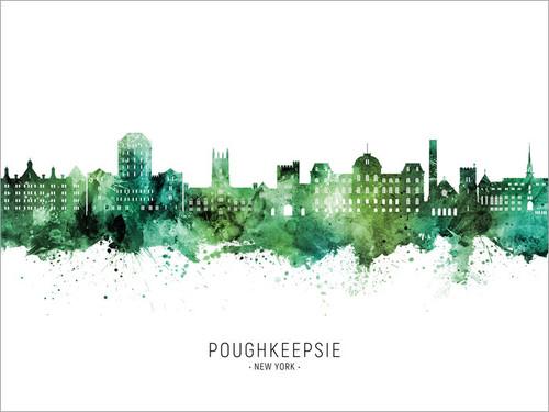 Poughkeepsie New York Skyline Cityscape Poster Art Print
