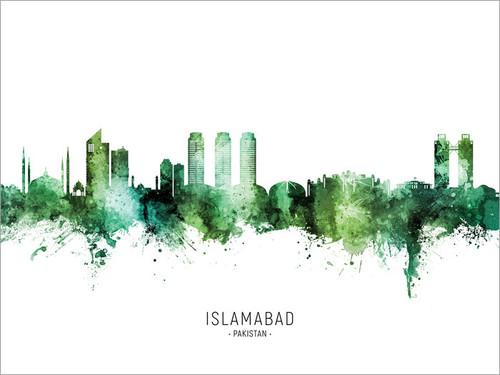 Islamabad Pakistan Skyline Cityscape Poster Art Print
