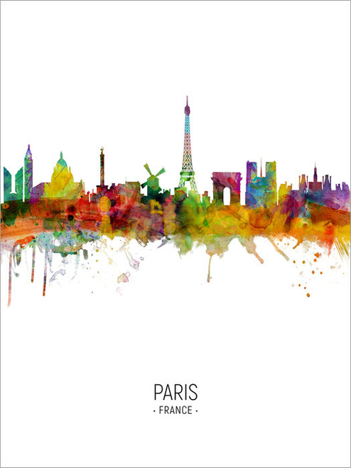 Paris France Skyline Cityscape Poster Art Print